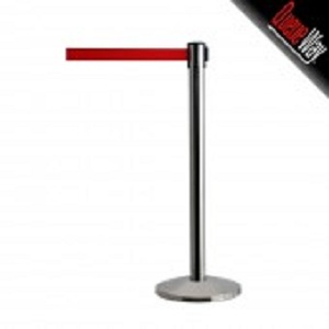 Queueway Retractable Polished Stainless Steel Stanchion with Red Retracing Belt