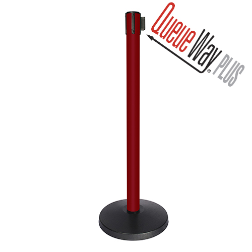 Queueway Plus Economy Discount Belt Stanchion Barrier - Red Post with 10 ft. Belt