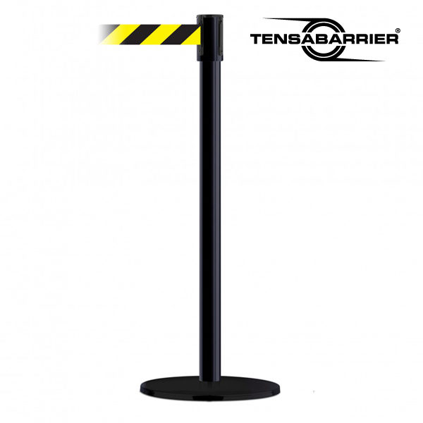 Tensabarrier 890 Slimline Retractable Belt Stanchion with Black Post and Black / Yellow Chevron Belt